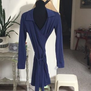 Gorgeous cotton/rayon wrap dress navy blue